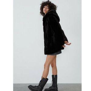 Zara faux fur black outerwear coat